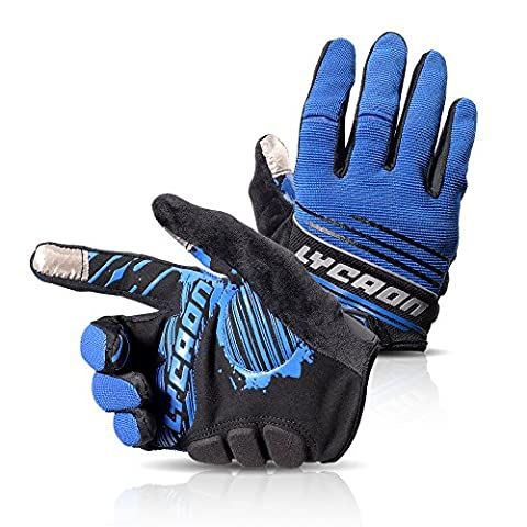 LYCAON Cycling Gloves, Silicone Gel, EVA Padding Cushion, Lycra Mesh, Ottoman Fabric, Touch Screen, Skid Resistance, Riding Bicycle Bike Full Finger Mitten Gel Padded Glove for Mountain Road Bike MTB BMX Cruiser Outdoor Sports Men Women (3 Size, 4 Colors) (Bleu, L)