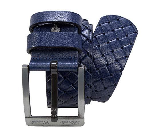 001 Leder (Rock Creek Designer Herren Leder Gürtel Echt Leder Herrengürtel Breit Jeansgürtel Anzuggürtel Büffelleder Accessoires G-001 Blau 115)