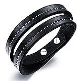 #6: Glamdust Multi Strand Leather Double Wrap Leather Cuff & Kada Bracelet With White Stitching For Unisex (Ss-B-601)