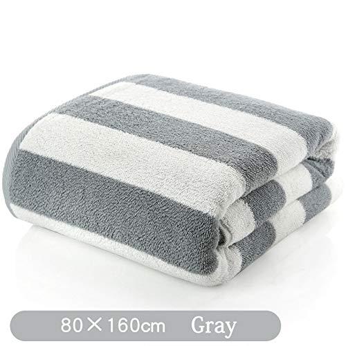 SNOLEK Haushalts Baumwolle Badetuch breit gestreift grau (80 * 160cm650g)
