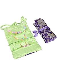 kilofly–2pc suave seda bordado Brocade rollo de joyería conjunto de bolsa de organizador de viaje, Set2 A, talla única