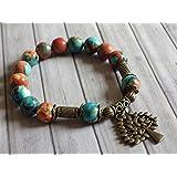 pulsera de perlas vntage estilo tibetano jade blanco natural, teñida de color marrón, naranja y azul, y pendientes en forma de árbol de bronce antigua