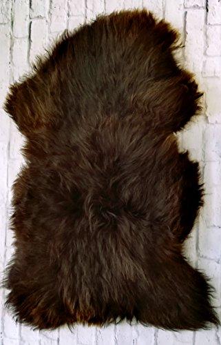 Lammfell Schaffell echt grau NATUR optik Läufer Sitzauflage Abdeckung Warmer schaffell xxl (Braun, 120-130 cm)