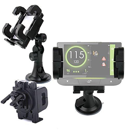 DURAGADGET Soporte Para GPS Coyote Mini/S/NAV - Rotación 360 Grados - Con Abrazaderas y Fuerte Ventosa