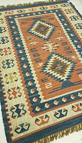 Rugsite rosa, blu e avorio 100% lana annodato a mano kilim tappeto 120x 180cm