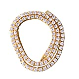 LUOEM Crystal Bling Necklace Rhinestones Hiphop Style Cadenas Collares 1 Fila 75cm (Oro)