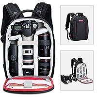 Beschoi Mochila Cámara Réflex Profesional y Impermeable Bolsa Fotográfica para Cámaras Réflex Trípode Canon Nikon Sony Pentax Drone Ordenador Portátil de 11'' y Acceserios, Talla S - Negro