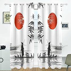JSTEL Japanische Malerei Mann mit Boot Vorhänge Panels Verdunklung Blackout Tülle Raumteiler für Terrasse Fenster Glas-Schiebetür Tür 139,7x 213,4cm, Set von 2