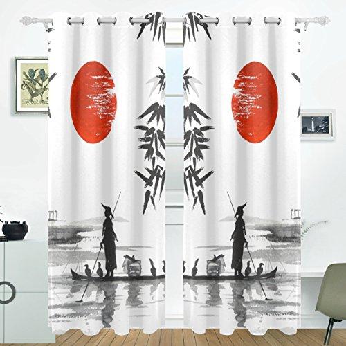 JSTEL Japanische Malerei Mann mit Boot Vorhänge Panels Verdunklung Blackout Tülle Raumteiler für Terrasse Fenster Glas-Schiebetür Tür 139,7x 213,4cm, Set von 2 (Vorhänge Für Ein Boot)