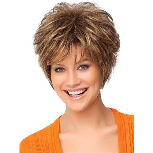 Kurze flaumige wellenförmige Frauen Haar Perücken Hitzebeständige natürliche schauende elegante Haar Perücke + 1 freie Perücke Kappe