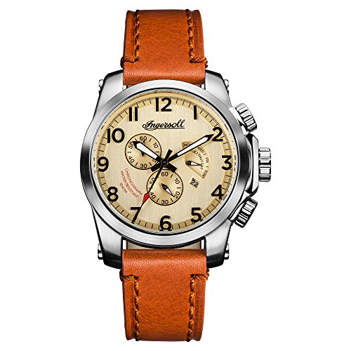 Ingersoll Men\'s The Manning Quartz Watch with Cream Dial andBraun Leather Strap I03001