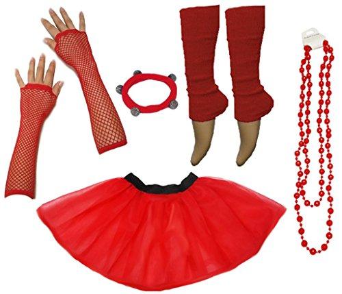 (A-Express Frauen kostüm 80er Jahre Neon Tutu Beinstulpen Fischnetz Handschuhe Tüllrock Karneval Tüll Damen Fluo Ballett Verkleidung Party Tutu Rock Kostüm Set (36-44, Rot))