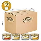 Purina Gourmet Gold Umido Gatto Mousse con Pesce, con Fegato, con Tacchino, con Manzo Prelibato  - 96 Lattine da 85 g Ciascuna (12 Confezioni da 8 x 85 g)