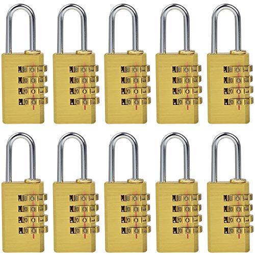 MENGS 10 Stück MG214 Kombinations Zahlenschloss, Kombinationsschloss, Vorhängeschloss, Wetterfestes Messing & Steel Combination Lock für Schule, Gym & Sports Locker, Hasp Cabinet usw