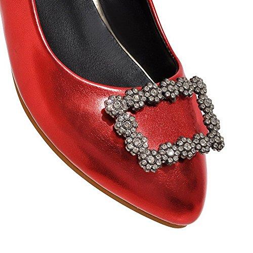 VogueZone009 Femme Couleur Unie Pu Cuir Pointu Tire Chaussures Légeres Rouge