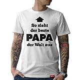 #PAPA: Original HARIZ® Collection T-Shirt // 36 Designs wählbar // Weiß, S-XXL // Inkl. Urkunde, Geschenk I Vatertag I Geburtstag I Weihnachten #Papa05: Bester Papa der Welt S
