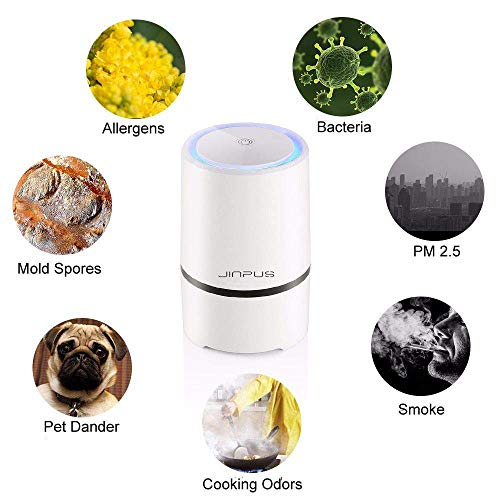 Purificateur d'air Maison, Filtre HEPA, Faible Décibel, Lumière de Nuit, éliminer les Bactéries 99,97% Pollen, la Poussière, la Fumée de Cigarette et l'odeur de Cuisine, Jinpus Purificateur d'air
