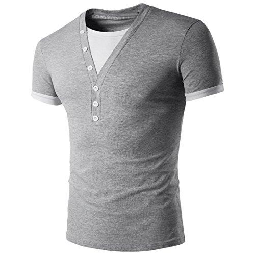 Malloom Männer Stilvolle Sport V-Ausschnitt Kurzarm Stitching T-Shirt Hemd (M, Grau)