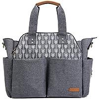 Lekebaby Baby Nappy Changing Bag Satchel Messenger Large Capacity, Arrow Print, Grey