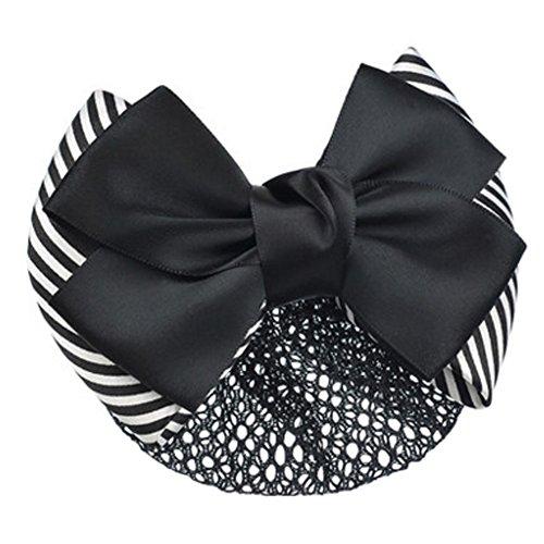 2PCS dames de coiffure Accessoires Bow Tie Barrette Barrette Snood Net, F