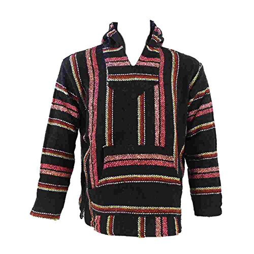 erga Hoodie Kapuzenhemd Hippie-Style Festival-Top Kapuzenpullover Regenbogen Poncho (L, 14011-035) (M, 14011-029) ()