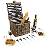 Startseite Innovation Wicker Picknickkorb, Willow Picknick Hamper Set für 2 Personen, Square -Shaped Picknick Basket mit Dining Tools, Perfekt in Hochzeiten, Beach Trips, Picknicks