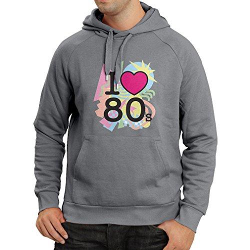 Kapuzenpullover Ich liebe 80er Konzert t-shirts Weinlese Kleidungs Musik t-shirts geschenke (X-Large Graphit Mehrfarben)