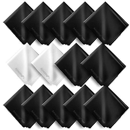 Masthome Mikrofaser Brillenputztücher 14 Stück, 15.5x17 cm Brillenputztuch-Mikrofasertücher,Schwarz, Weiß