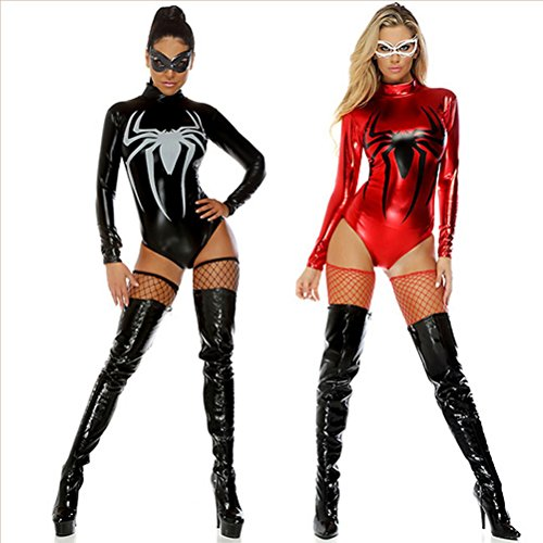 MQZ Sexy Women's Lingerie Wet Look Leder Spiderman Superman Jumpsuit Teddy Babydoll Bodysuits Vereine Kleidung,Red