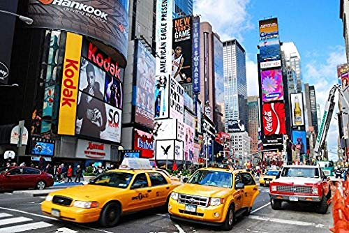 YUSDK Paint by Numbers Kits for Adults Kids Number Painting - New York City Times Square 16x20 inch (Framed)@Framed
