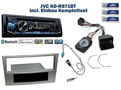 a H/Corsa D/Zafira Autoradio Einbauset *Satin Stone* inkl. JVC KD-R871BT und Lenkrad Fernbedienung Adapter ()