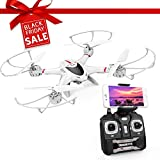 DBPOWER FPV Drone avec Caméra WiFi Live Video 2.4GHz 4 Chanel 6 Axe Gyro RTF Quadcopter RC Équipé avec Mode sans Tête et Une Clé Retour à la Maison, Couleur Blanc