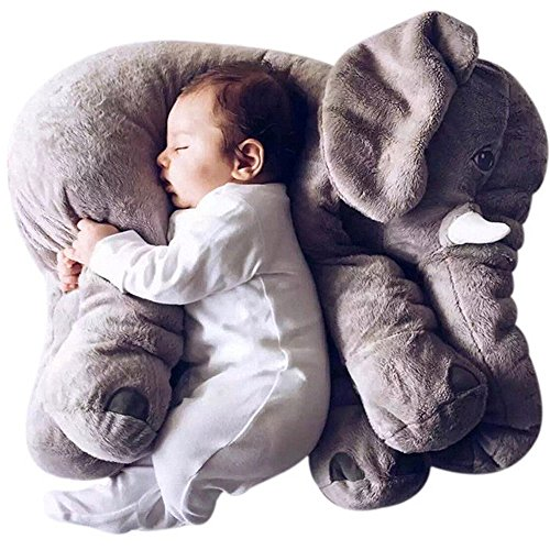 Elephant Soft Animal Plush Toy Baby Pillow, Cuddly Comfortable Boby Pillow Cushion Christmas gifts for your kids. (grey)