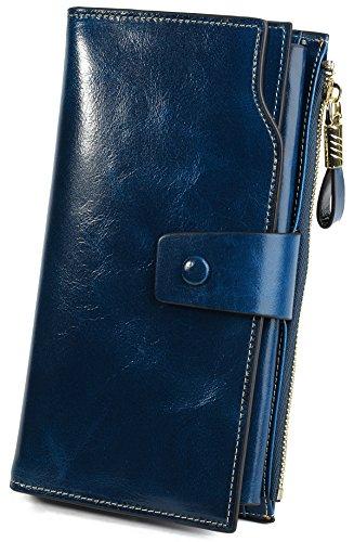 Yaluxe Femme Portefeuille Blocage RFID Grande Capacité Luxueux Cuir Véritable en Veau Ciré Bleu Marine