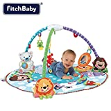 Palestrina Tappeto Gioco per Neonato Fitch Baby In morbido Tessuto Musicale Con Giocattoli Pendenti Peluche e Specchio