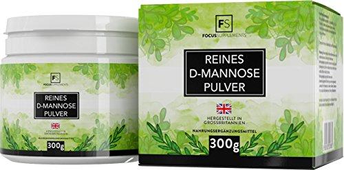 D-mannosio pura polvere al 100% [300 g] | Detossificante naturale per la vescica | SENZA ADDITIVI | Focus Supplements | Confezionato nel Regno Unito | Vegano, senza glutine, senza lattosio, senza OGM