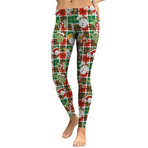 Leggings Frauen Weihnachten 3D Gedruckt Lattice Harajuku Legging Fitness Hose SKDK 051 M