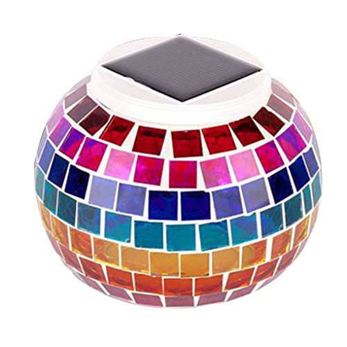 Providethebest Solarglasmosaik LED Dekorative Tischleuchte Anzeigen Nacht Wasserdichte IP44-Lampe für Garten/Hof / Geschenke Regenbogen Anzeige Home Akzente