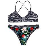 Malloom-Bekleidung Frauen Zwei Stücke Badeanzüge Top Mit Hoher Taille Bottom Bikini Set Gekräuselt Sexy Bikini mit Sonnenuhr und großem Print für Damen Swimsuit swimanzug Swimwear