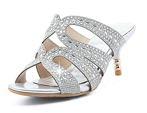 SHINIK Damen Peep Toe Pump 2017 Sommer neue spezielle Flash-Gewebe Hollow Mid Heel Sandalen Pantoffeln Diamond Bankett Schuhe große Größe Schuhe Silver