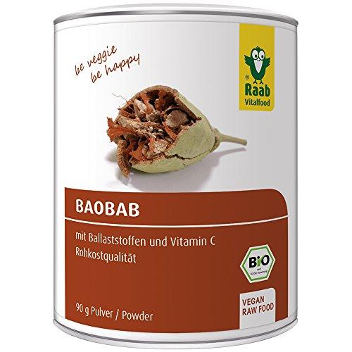 Raab Vitalfood Bio Baobab Pulver, glutenfrei, vegan, Fruchtpulver, hergestellt & laborgeprüft in Deutschland, Fruchtpulver gemahlen, 1er Pack (1 x 90 g) -