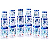 Cello Florence Plastic Canister Set, 18-Pieces, Clear Blue