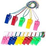 40 Stück Plastik Pfeifen mit Lanyards für Party Sport, 5 Farben