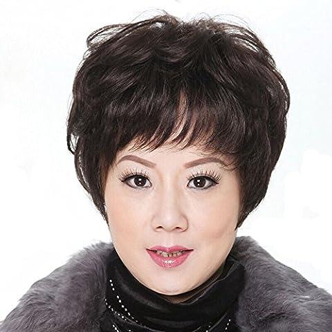 XNWP-G viejo cabello verdadero peluca rizos naturales realistas fáciles de cuidar el cabello corto dando a su mamá un regalo
