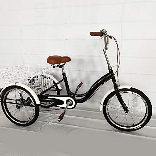 BTdahong 20 Zoll 3 Räder Dreirad für Erwachsene Cruiser Fahrrad Single Speed Senioren Einkaufs Lastenfahrrad mit Korb Schwarz für Freizeit Reisen