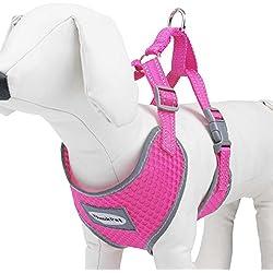 ThinkPet Atmungsaktives Hundegeschirr aus Weichem Air Mesh Gewebe, reflektierend, Klein, Neon-Rosa