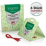 Legona 6x Natürliche BIO Kleidermottenfalle / 100% Insektizidfreie Pheromonfalle für 18 Monate Mottenschutz / Erstklassige Mottenfalle für den Kleiderschrank sowie Wohnräume mit Naturtextilien