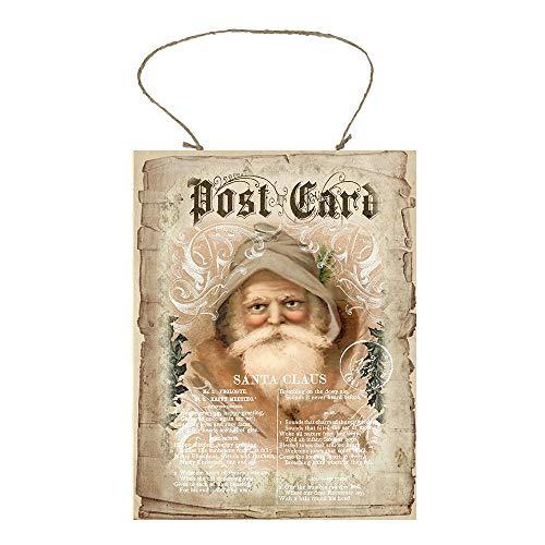 CPWood Postkarte, Vintage-Weihnachtsmann, Bedruckt, handgefertigtes Holzschild (Weihnachtsmann Postkarten)