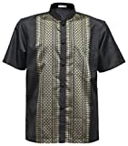 Männer Kurzarm Thai Seidenhemd Mandarin Band Kragen Casual (L, Schwarz)