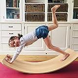 YDBET Balance Kippbrett Kinder Pedaling Sinnestrainingsgeräte Spielzeug Bent Brett aus Holz Balance Board Seesaw Tunnel Bootsschlitten - Lernspielzeug -